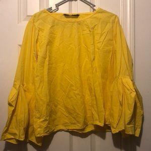 NWOT Zara yellow bell sleeve blouse